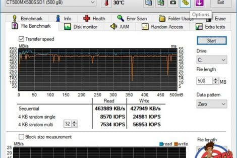 Benchmarks SSD Crucial MX500