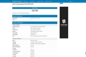 Banchmark NUC Intel Hades Canyon NUC8i7HVK
