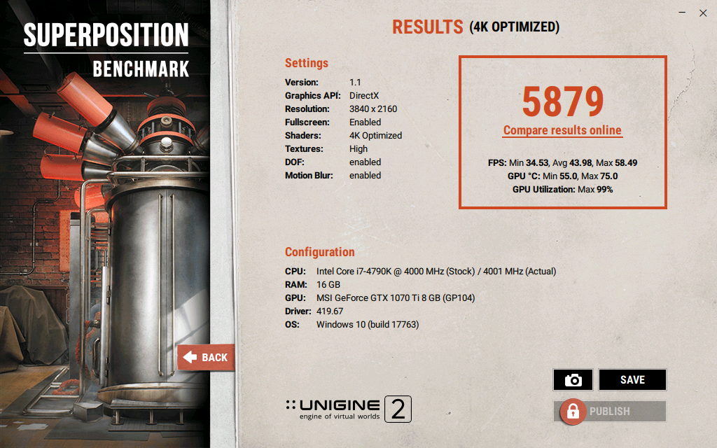 Benchmark MSI GeForce GTX 1070Ti Gaming 8G