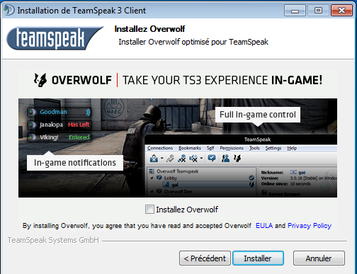 TeamSpeak 3 installation