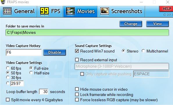 Interface de Fraps montrant les différents paramètres disponibles.