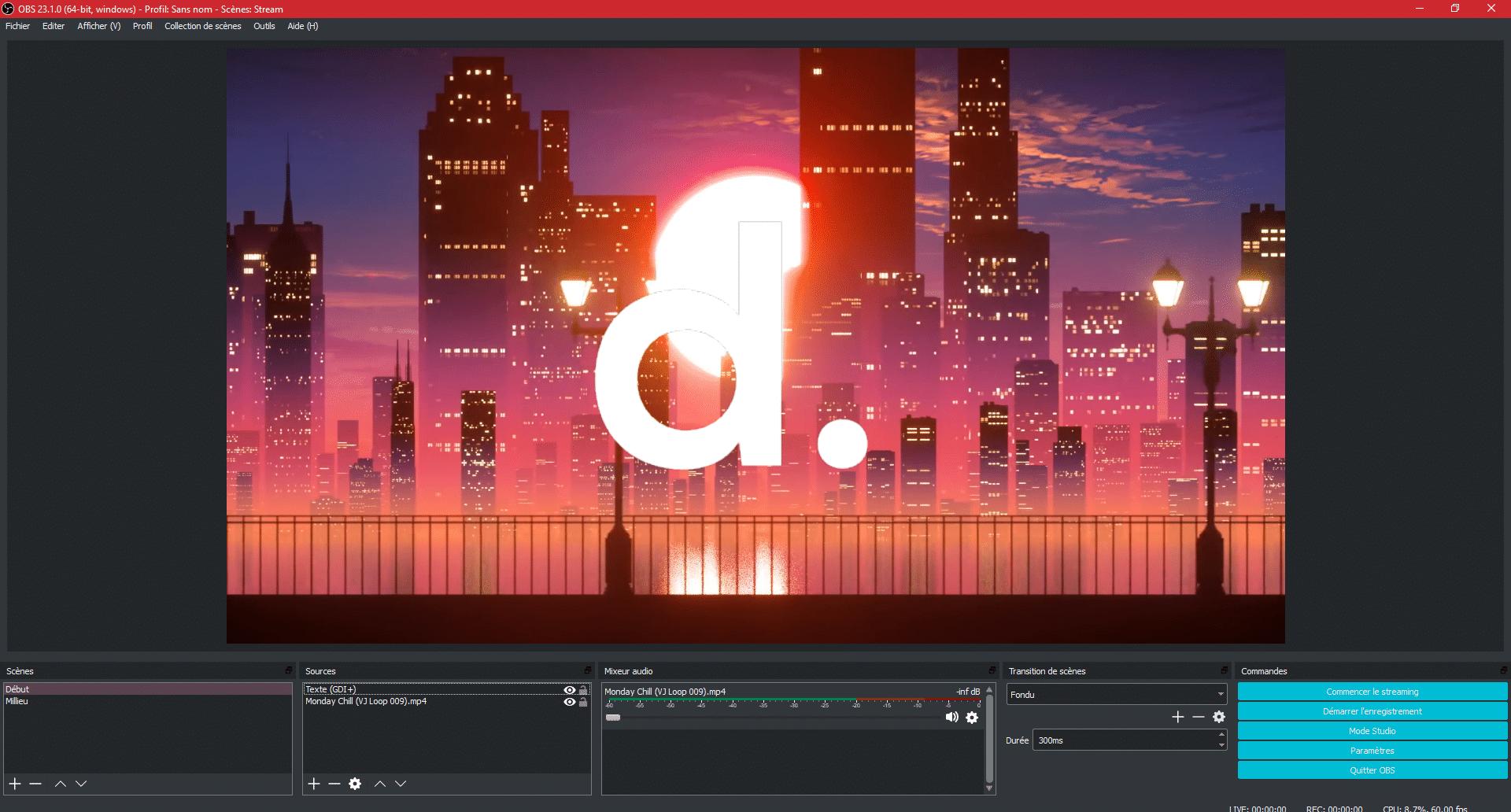 Interface d'OBS avec le mode studio désactivé