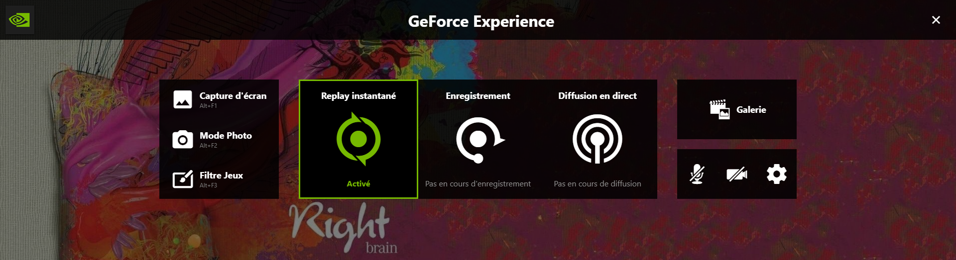 Interface de ShadowPlay / GeForce Experience
