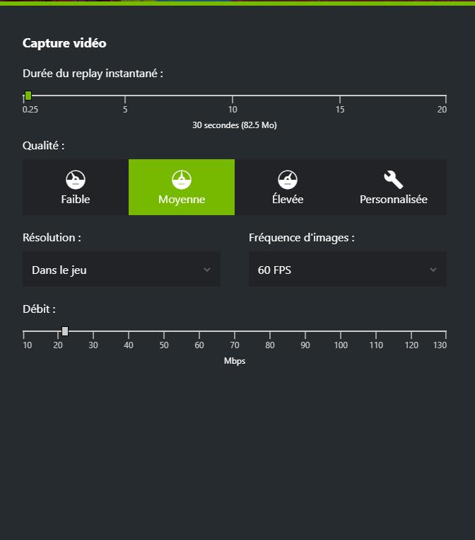 Onglet Capture vidéo montrant les différents paramètres du Replay Instantané