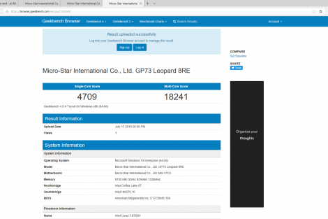 msi gp73 leopard 8re benchmark
