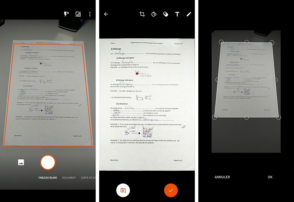 Interface de Office Lens