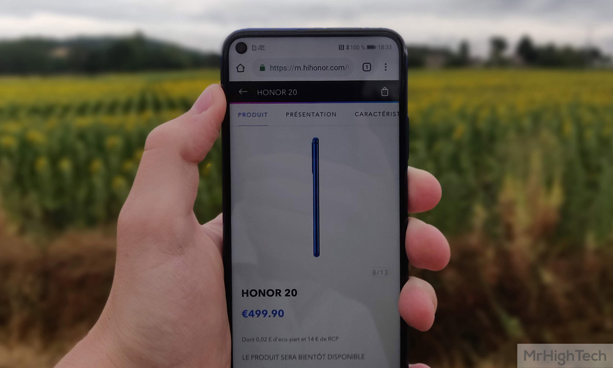 Honor 20 face écran trou