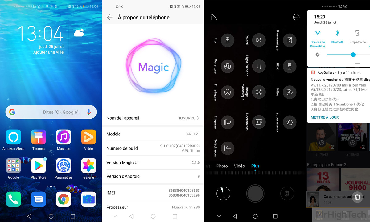 Honor 20 MagicUI interface