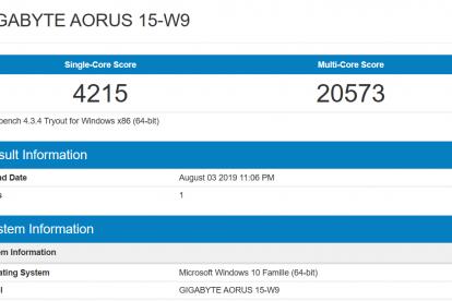 aorus 15 W9 benchmark