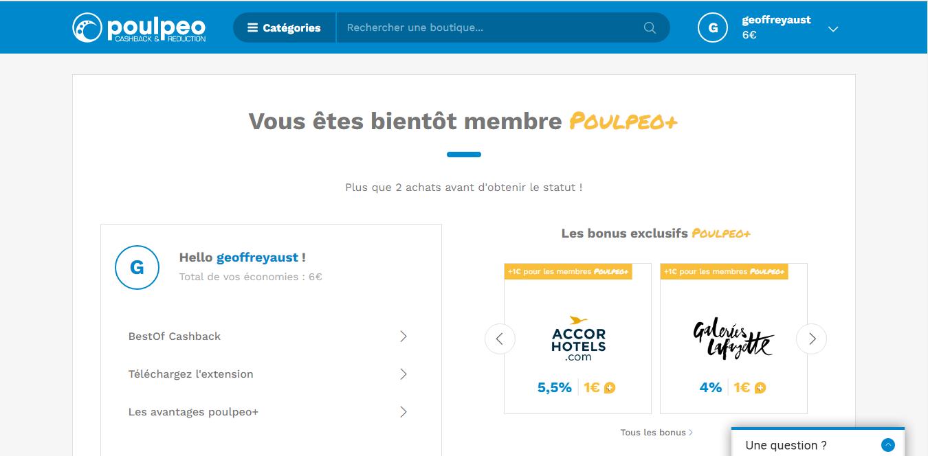 Interface utilisateur de Poulpeo