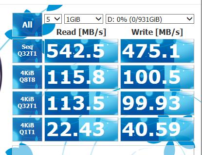 CrystalDiskMark Lacie Mobile SSD 1TB