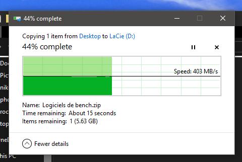 LaCie Mobile SSD vitesse de transfert